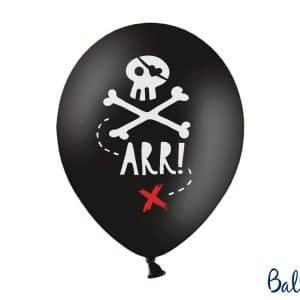 Mustat ilmapallot pääkallon kuvilla