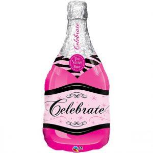 Pinkki shampanjapullo foliopallo