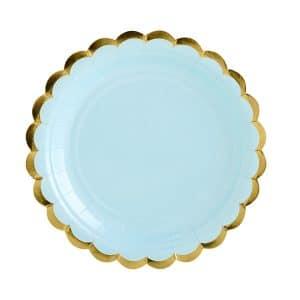 Vaaleansiniset lautaset kultareunalla