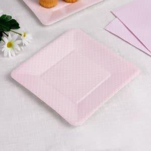 Lautanen vaaleanpunainen polka dot