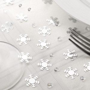 Lumihiutalekonfetit ja kristallit