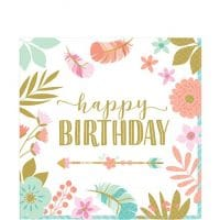 Boho Happy Birthday lautasliinat