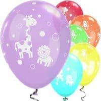 Pastellisävyiset ilmapallot viidakon eläimet