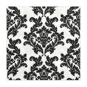 Mustavalkoiset lautasliinat ornamenteilla