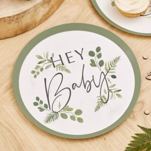 Baby shower lautaset - botanical