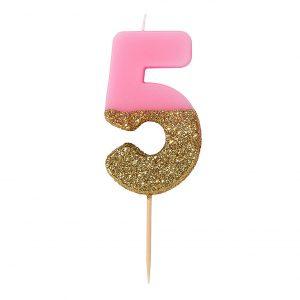 Kakkukynttilä pinkki 5