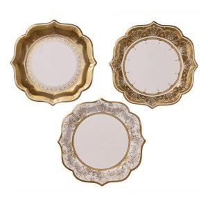 kultakuvioidut isot lautaset
