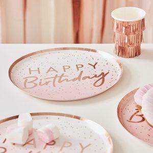 Happy Birthday ruusukultapilkulliset lautaset