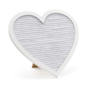Letter board sydän valkoinen