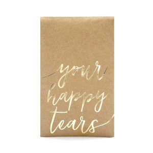 Nenäliinat onnenkyynelille kultateksti