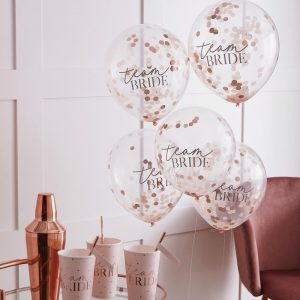 Team bride ruusukultaiset konfettipallot