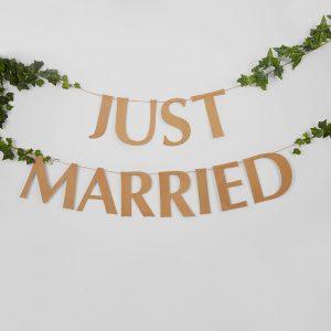 Just married pahvinen viirinauha