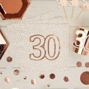 Ruusukultaiset lautasliinat 30-vuotiaalle