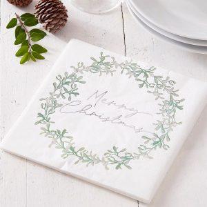 Merry Christmas lautasliinat vihreillä oksilla