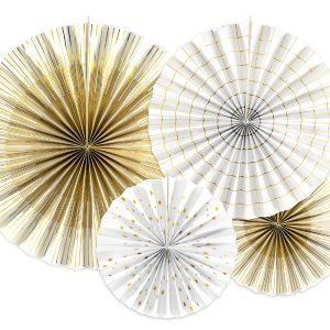 Kultavalkoiset paperiviuhkat
