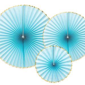 Vaaleansiniset paperiviuhkat kultareunoilla