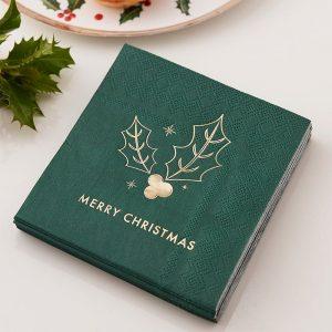 Vihreät servetit Merry Christmas