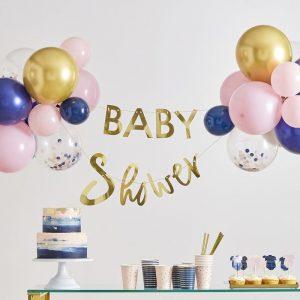 Baby shower viirinauha ja ilmapallokimput