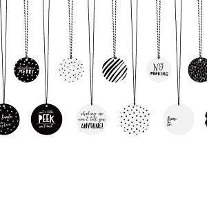 Joulun pakettikortit mustavalkomix