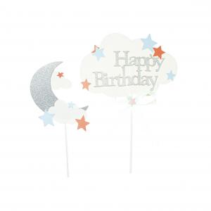 Happy birthday kakkukoriste kuu ja tähdet