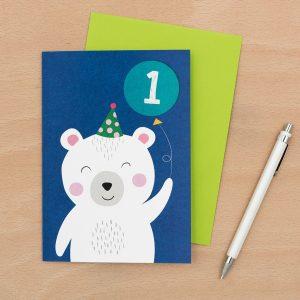 Onnittelukortti 1 vuotiaalle jääkarhu