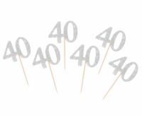 Kuppikakkukoristeet 40 hopeaglitter