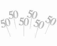 Kuppikakkukoristeet 50 hopeaglitter