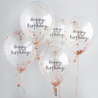 Happy Birthday konfetti-ilmapallot 5 kpl