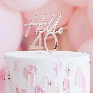 Kakkukoriste Hello 40 ruusukulta