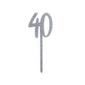 Kakkukoriste 40-vuotiaalle - hopeaglitter