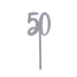 Kakkukoriste 50-vuotiaalle - hopeaglitter