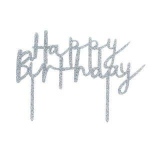 Kakkukoriste Happy Birthday - hopeaglitter