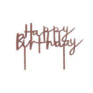 Kakkukoriste Happy Birthday, ruusukulta