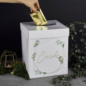 Korttilaatikko valkoinen - vihreät oksat