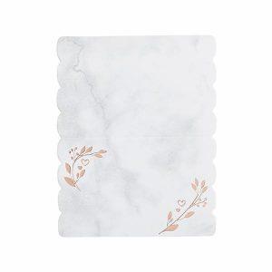 Paikkakortit 10 kpl, valkoinen - ruusukulta