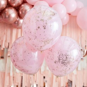 Pinkit ilmapallot ruusukultakonfeteilla, 3 kpl