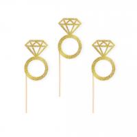 Kuppikakkukoristeet timanttisormus, 6 kpl