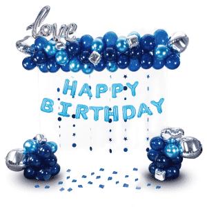 Happy Birthday ilmapallosetti, sininen-hopea