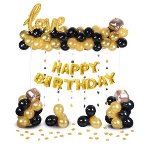 Happy Birthday ilmapallosetti, kulta-musta