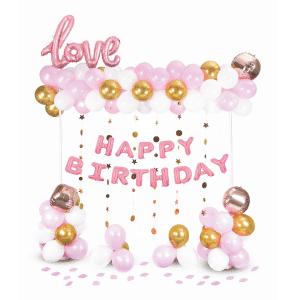 Happy Birthday ilmapallosetti, vaaleanpunainen-valkoinen-kulta