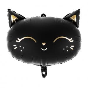 Hieno mattamusta foliopallo kissamaisiin juhliin! Kullanväriset tehostekuviot. Ilmapallon leveys täytettynä 48 cm ja korkeus 36 cm.