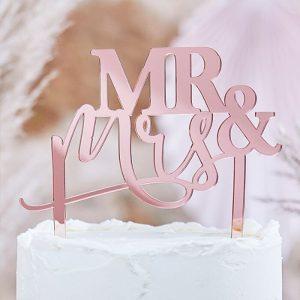 Mr & Mrs hääkakkukoriste ruusukulta