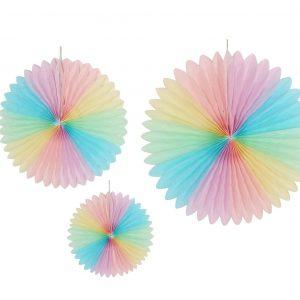 Paperiviuhkat moniväripastelli, 3 kpl