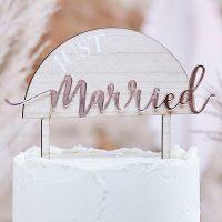 Kakkukoriste Just Married, puu + ruusukulta