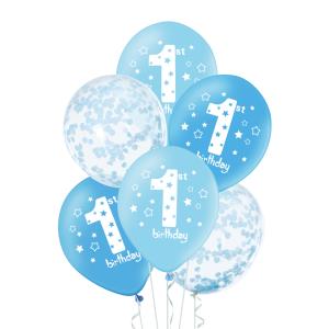 Ilmapallosetti 1-vuotiaalle 6 kpl, sininen