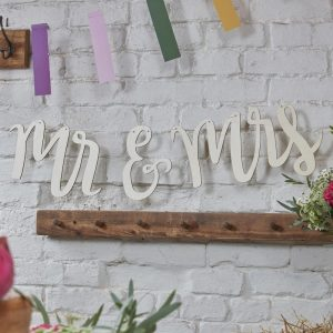 Puinen Mr & Mrs koristenauha