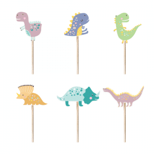 Dino kuppikakkukoristeet, 6 kpl