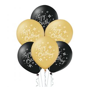 Happy Birthday ilmapallot 6 kpl, musta - kulta