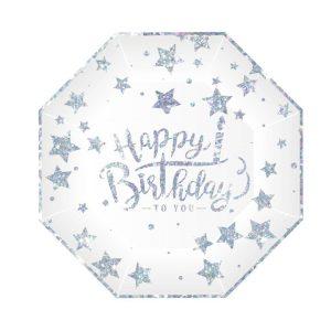 Hopeatähti pahvilautaset Happy Birthday, 6 kpl