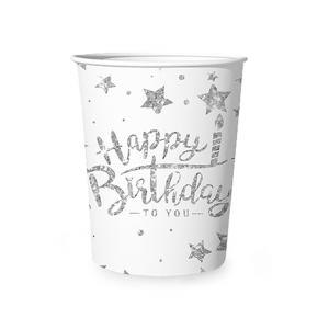 Happy Birthday pahvimukit 6 kpl, hopea-valkoinen